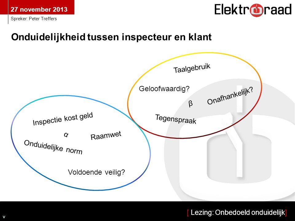 Onduidelijkheid tussen inspecteur en klant