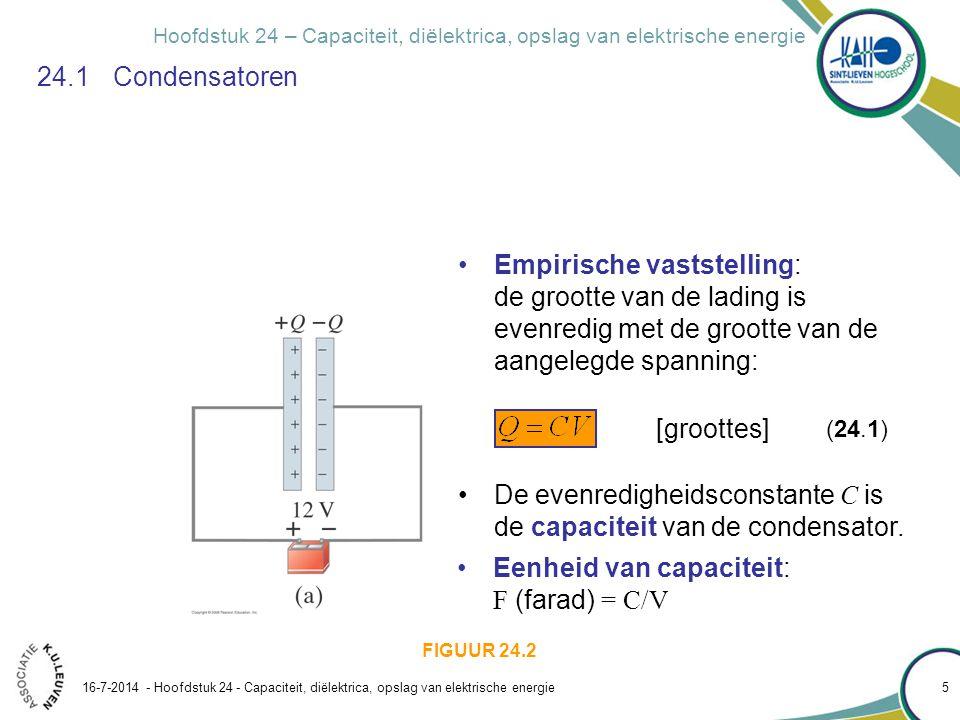 De evenredigheidsconstante C is de capaciteit van de condensator.
