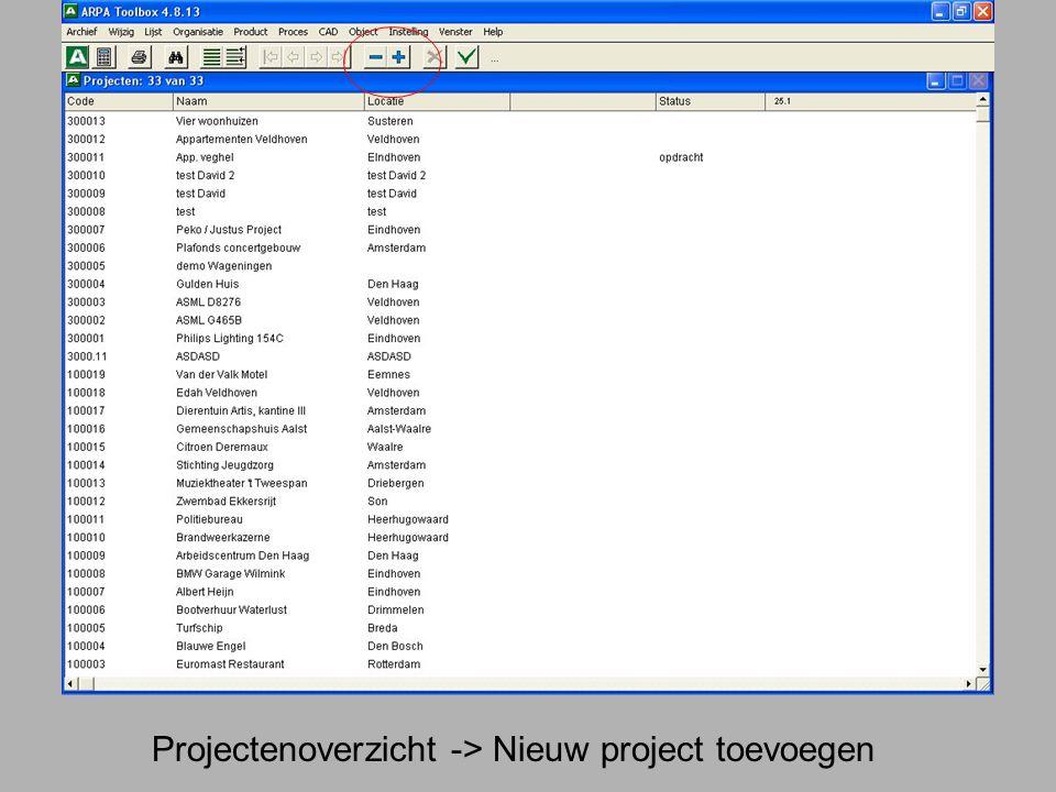 Projectenoverzicht -> Nieuw project toevoegen