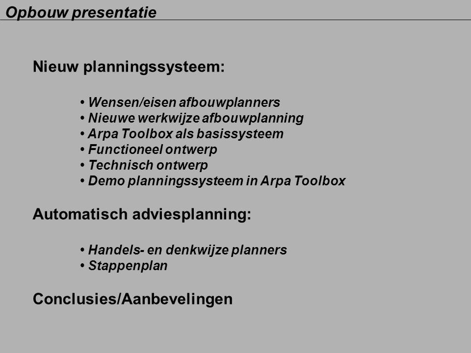 Nieuw planningssysteem: