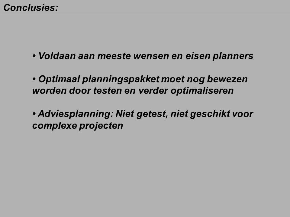 Conclusies: • Voldaan aan meeste wensen en eisen planners. • Optimaal planningspakket moet nog bewezen.