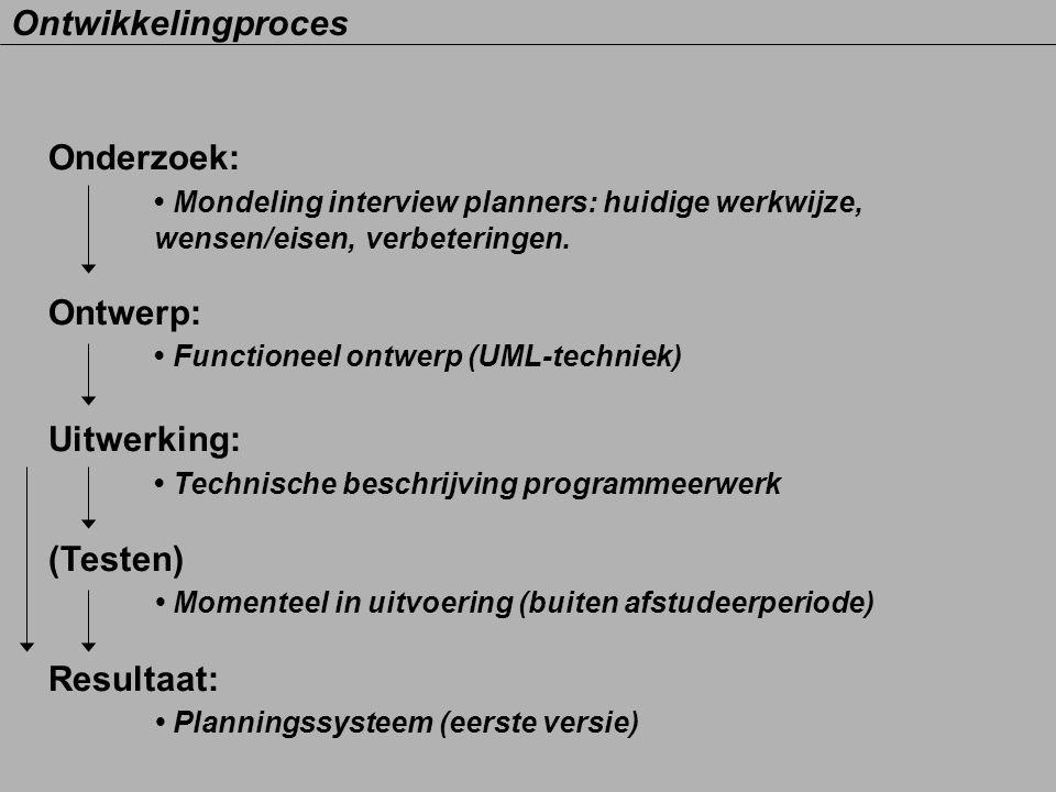 • Mondeling interview planners: huidige werkwijze,
