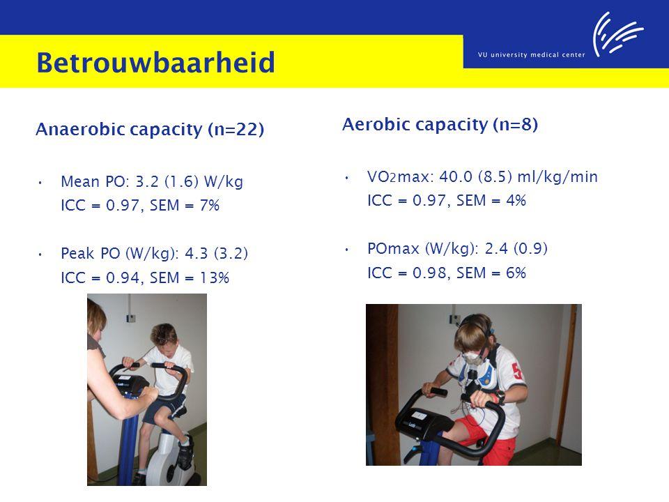Betrouwbaarheid Aerobic capacity (n=8) Anaerobic capacity (n=22)