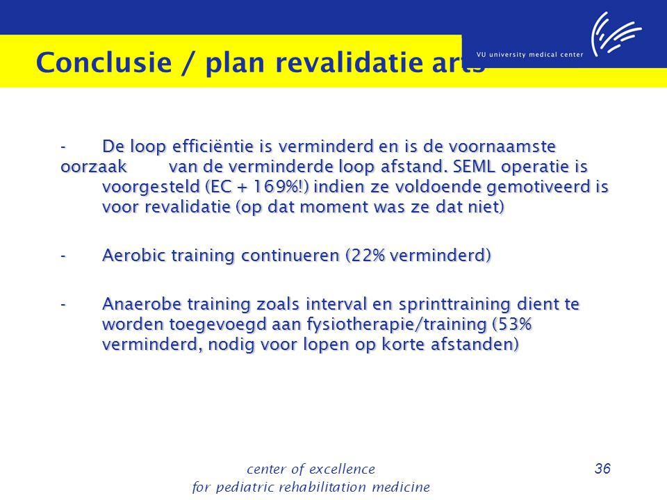 Conclusie / plan revalidatie arts
