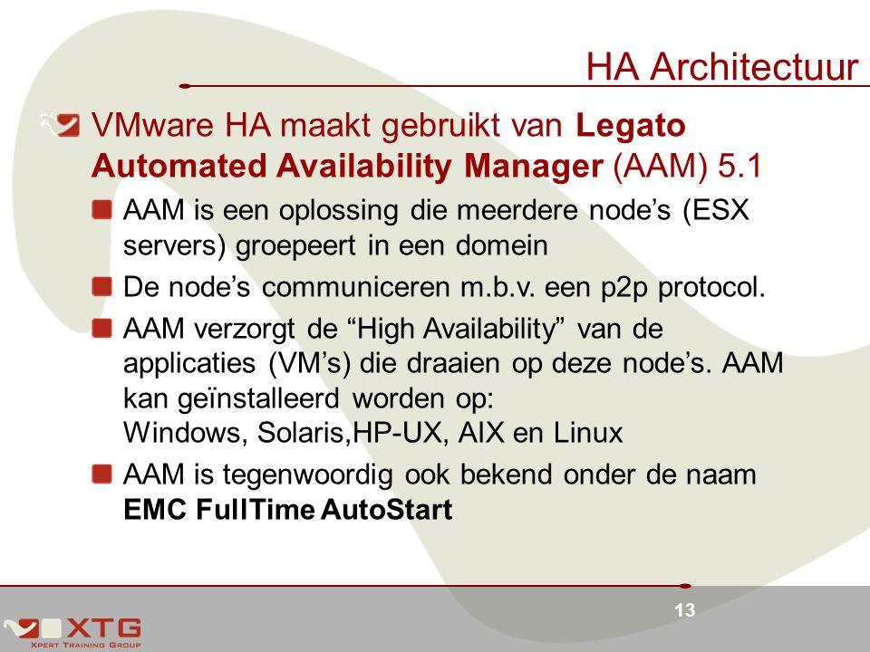 HA Architectuur VMware HA maakt gebruikt van Legato Automated Availability Manager (AAM) 5.1.
