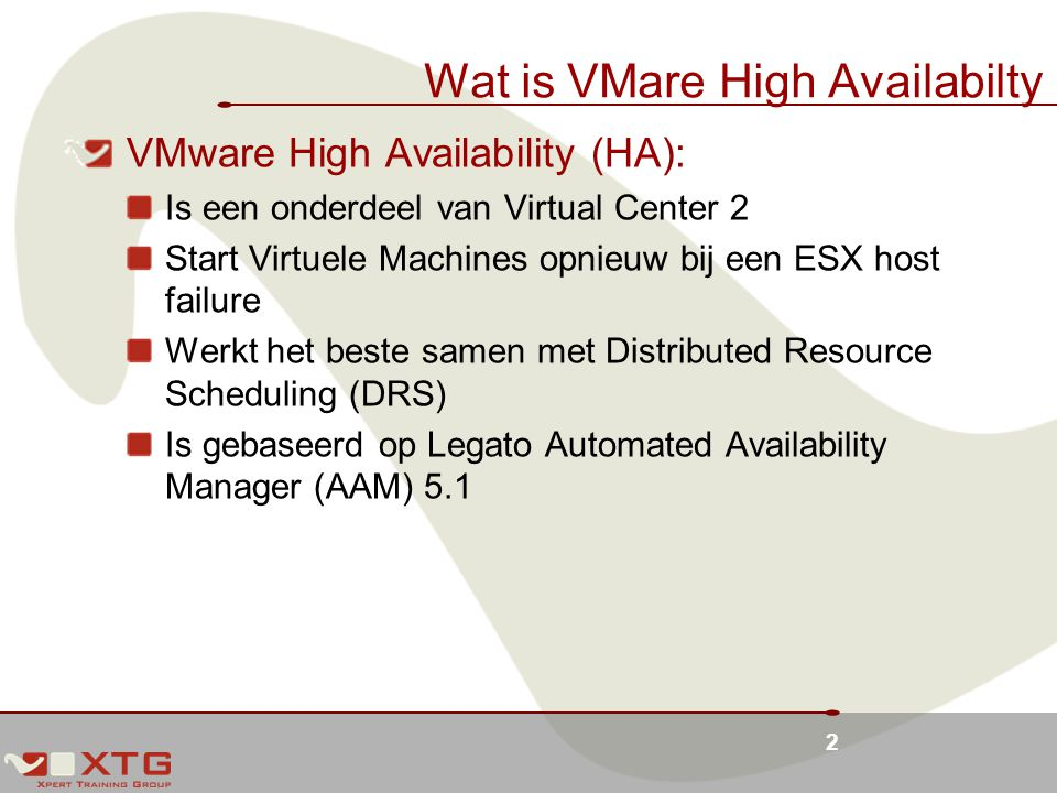 Wat is VMare High Availabilty
