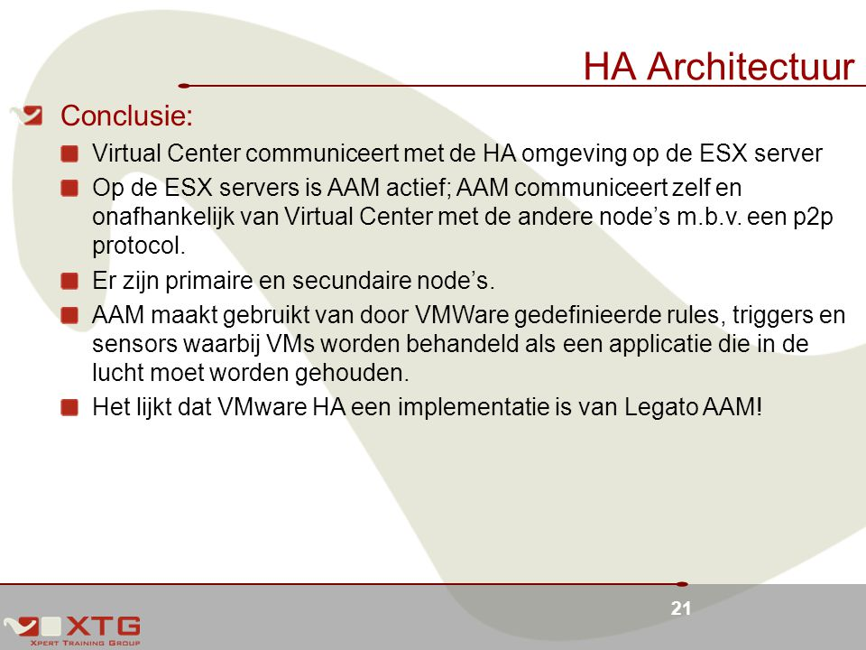 HA Architectuur Conclusie: