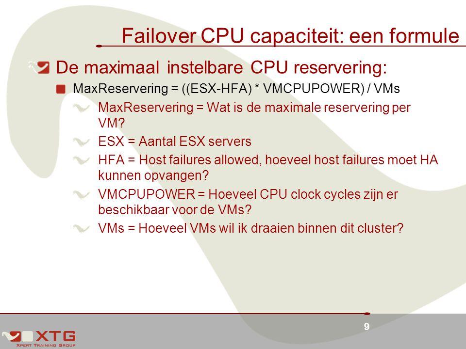 Failover CPU capaciteit: een formule
