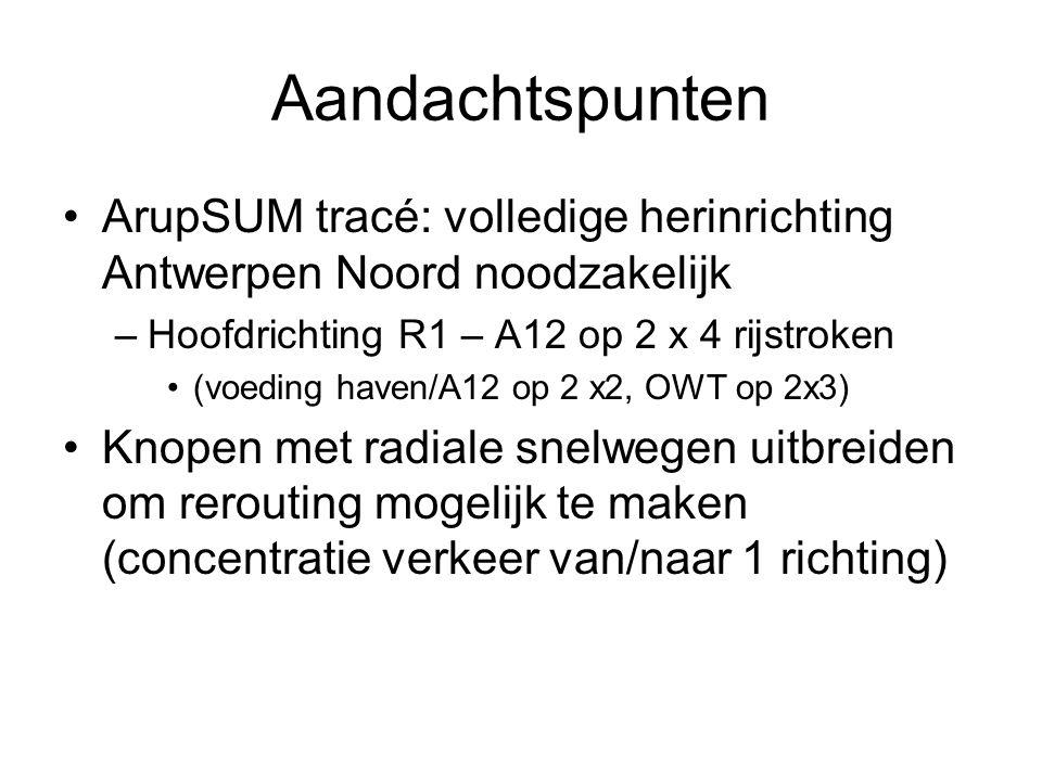 Aandachtspunten ArupSUM tracé: volledige herinrichting Antwerpen Noord noodzakelijk. Hoofdrichting R1 – A12 op 2 x 4 rijstroken.