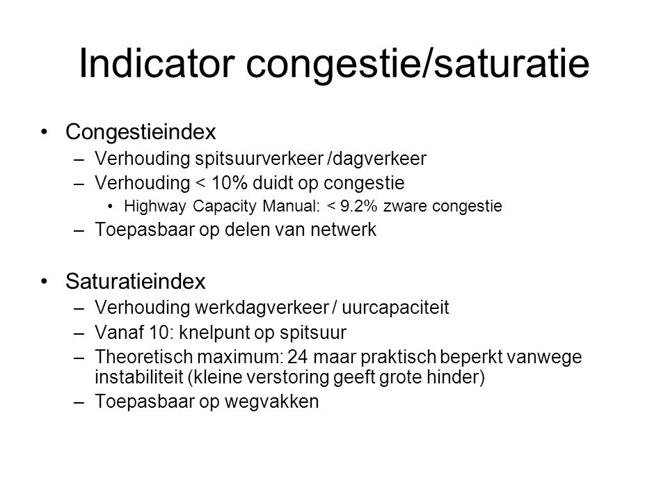 Indicator congestie/saturatie