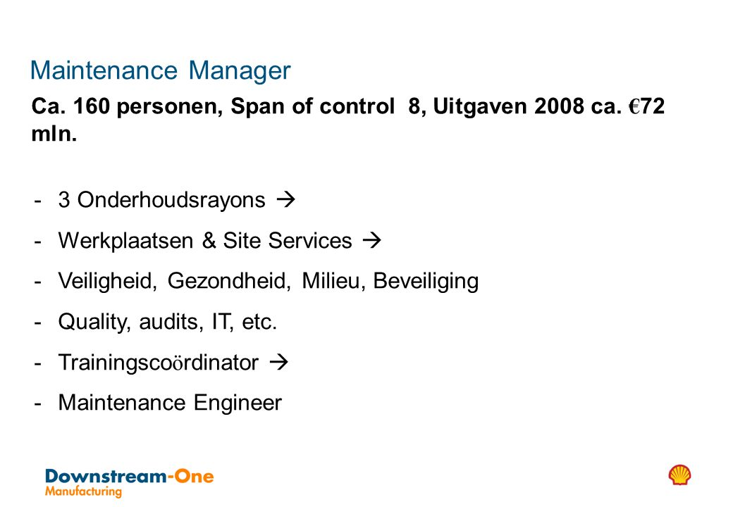 Maintenance Manager Ca. 160 personen, Span of control 8, Uitgaven 2008 ca. €72 mln. 3 Onderhoudsrayons 