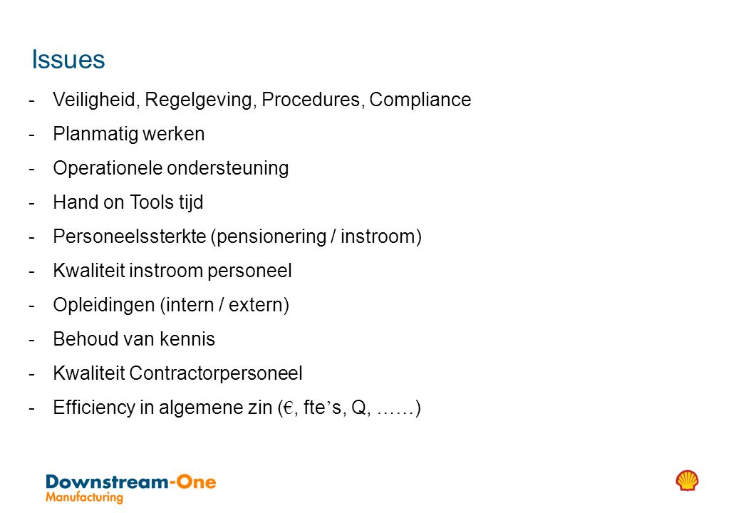 Issues Veiligheid, Regelgeving, Procedures, Compliance