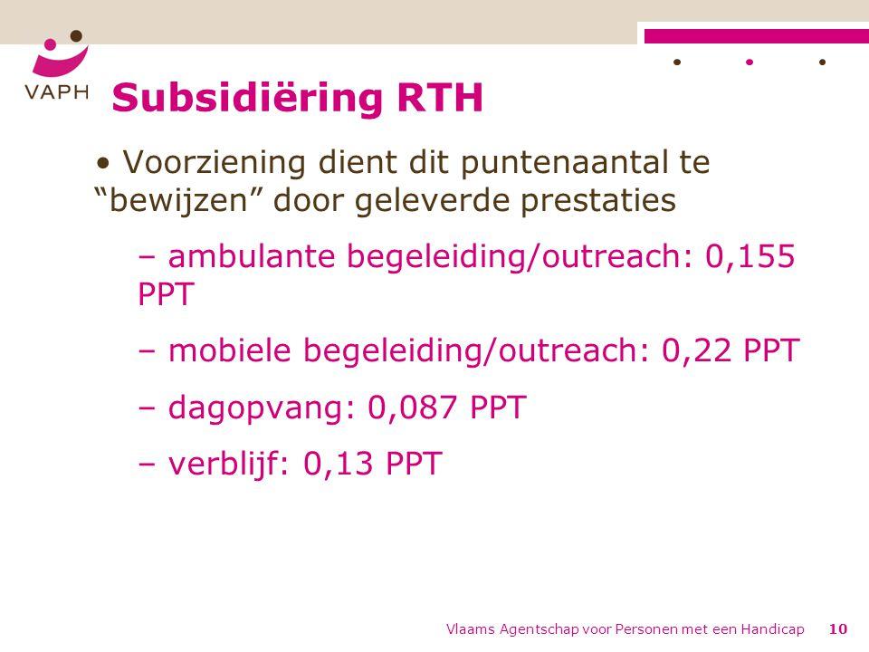 Subsidiëring RTH Voorziening dient dit puntenaantal te bewijzen door geleverde prestaties. ambulante begeleiding/outreach: 0,155 PPT.
