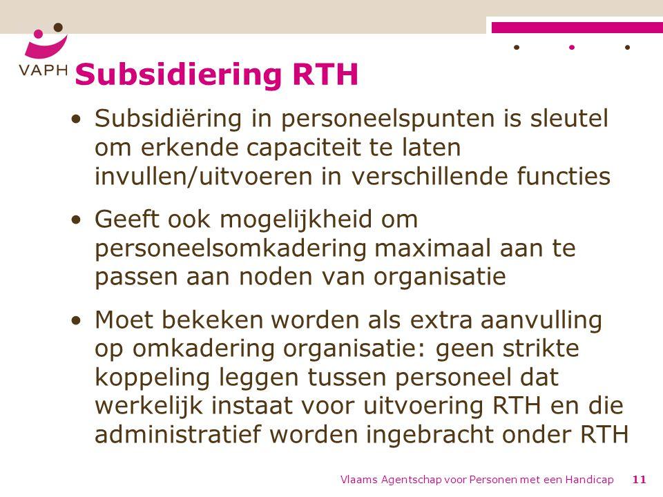 Subsidiering RTH Subsidiëring in personeelspunten is sleutel om erkende capaciteit te laten invullen/uitvoeren in verschillende functies.