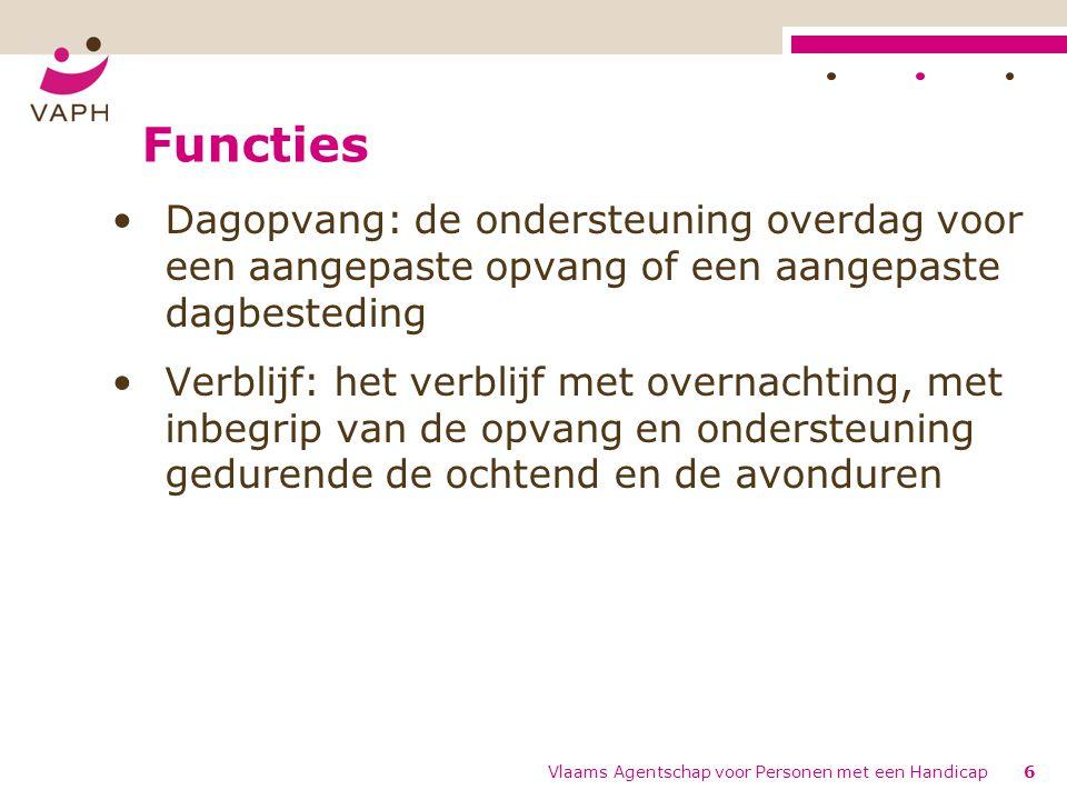 Functies Dagopvang: de ondersteuning overdag voor een aangepaste opvang of een aangepaste dagbesteding.