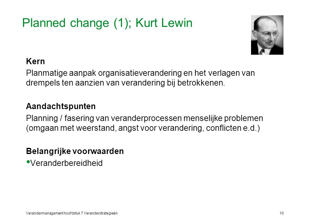 Planned change (1); Kurt Lewin