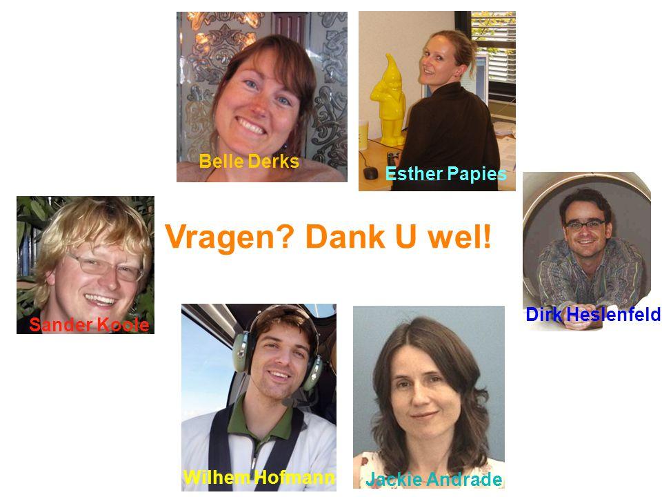 Vragen Dank U wel! Belle Derks Esther Papies Dirk Heslenfeld