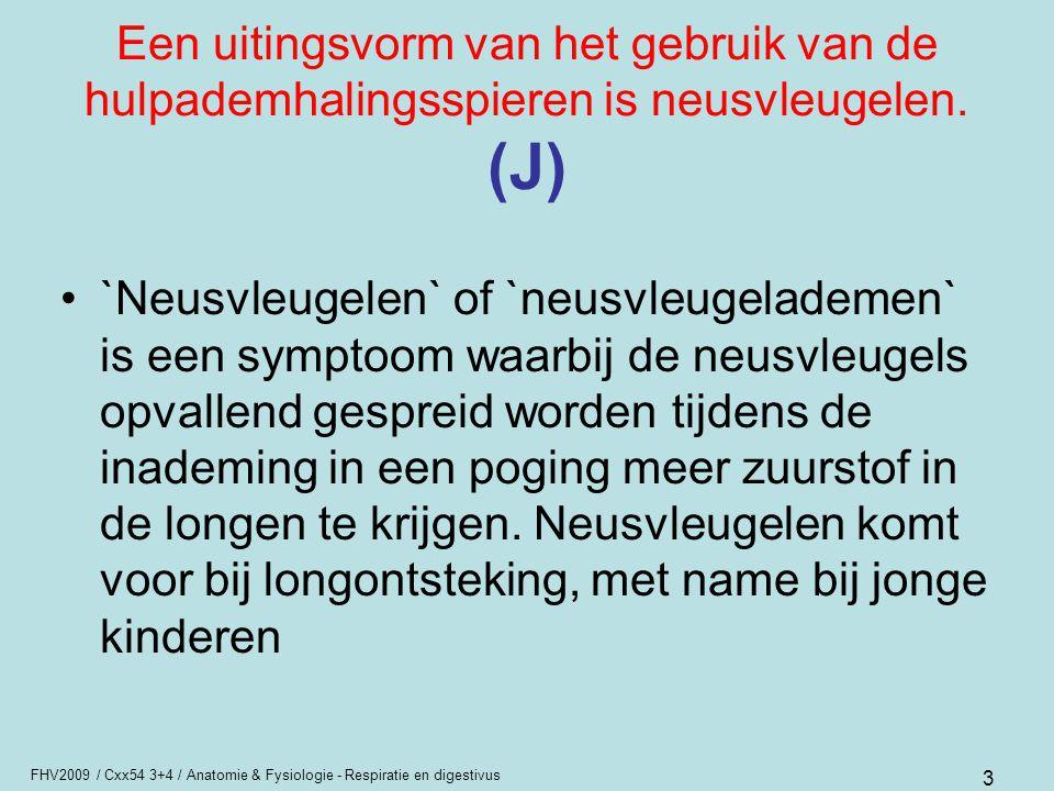 Een uitingsvorm van het gebruik van de hulpademhalingsspieren is neusvleugelen. (J)