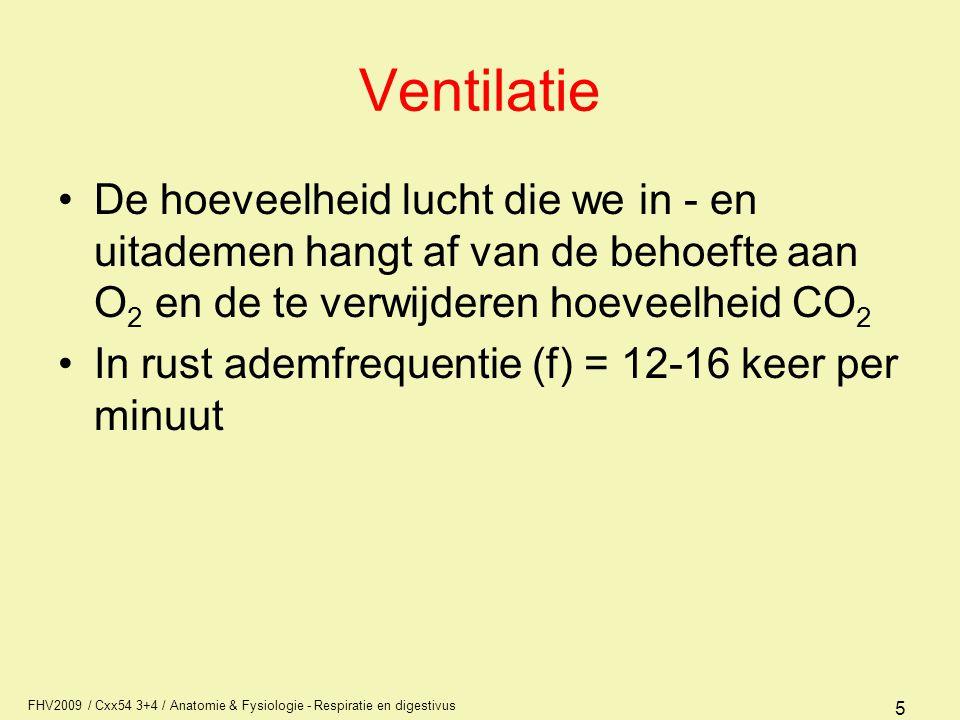 Ventilatie De hoeveelheid lucht die we in - en uitademen hangt af van de behoefte aan O2 en de te verwijderen hoeveelheid CO2.