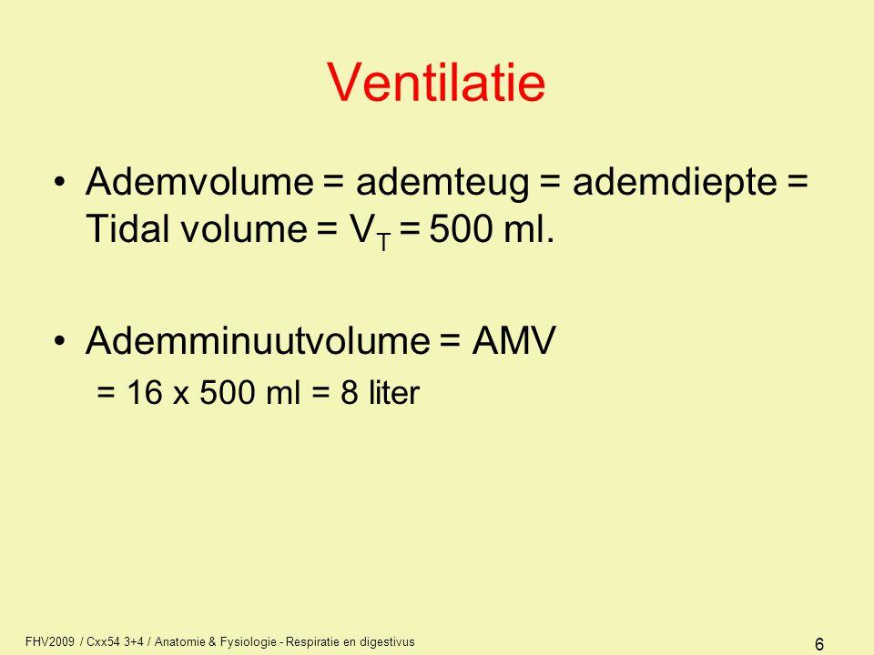 Ventilatie Ademvolume = ademteug = ademdiepte = Tidal volume = VT = 500 ml. Ademminuutvolume = AMV.