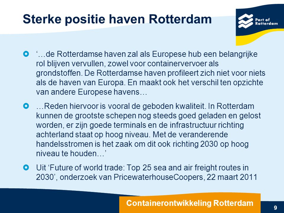 Sterke positie haven Rotterdam