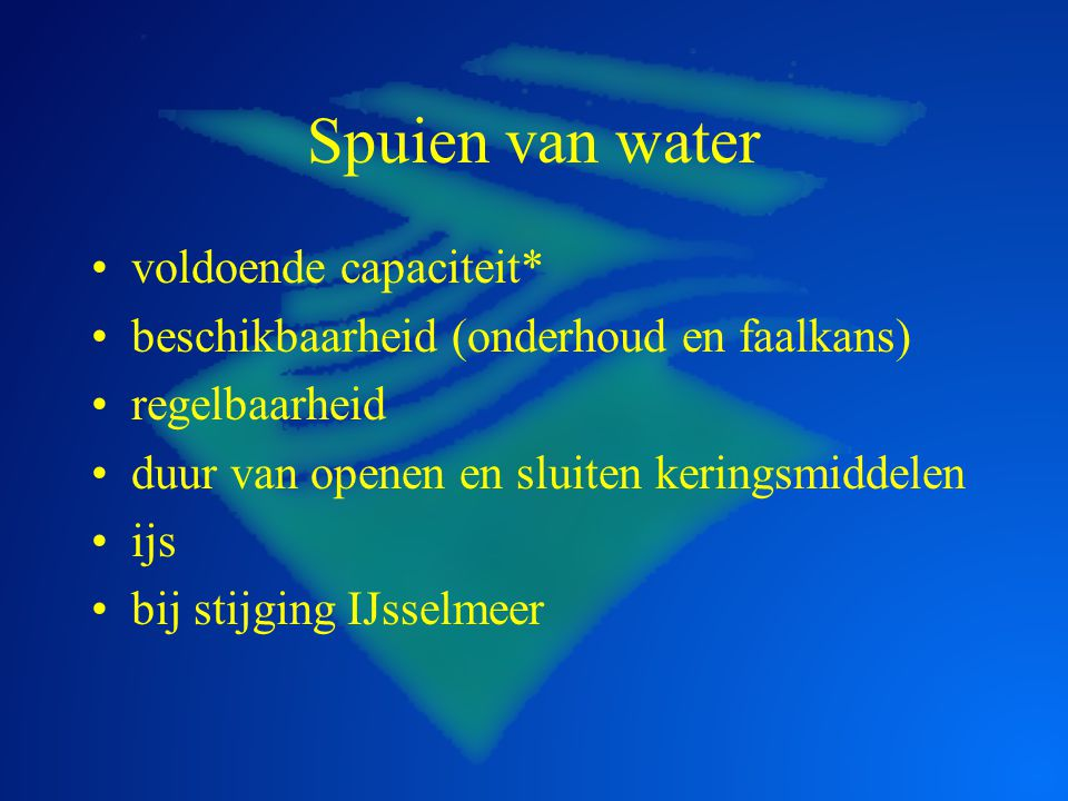 Spuien van water voldoende capaciteit*