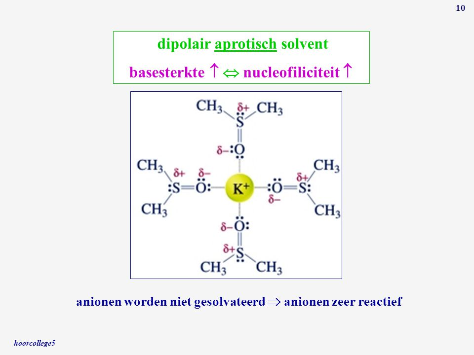 dipolair aprotisch solvent basesterkte   nucleofiliciteit 