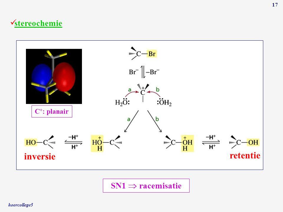 retentie inversie stereochemie SN1  racemisatie C+: planair