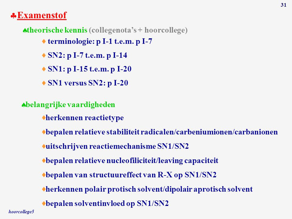 Examenstof theorische kennis (collegenota's + hoorcollege)