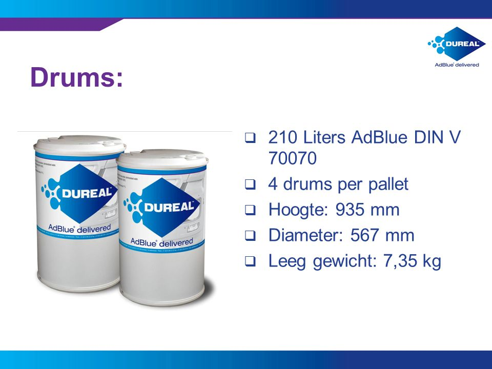 Drums: 210 Liters AdBlue DIN V drums per pallet Hoogte: 935 mm