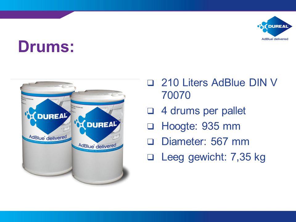 Drums: 210 Liters AdBlue DIN V 70070 4 drums per pallet Hoogte: 935 mm