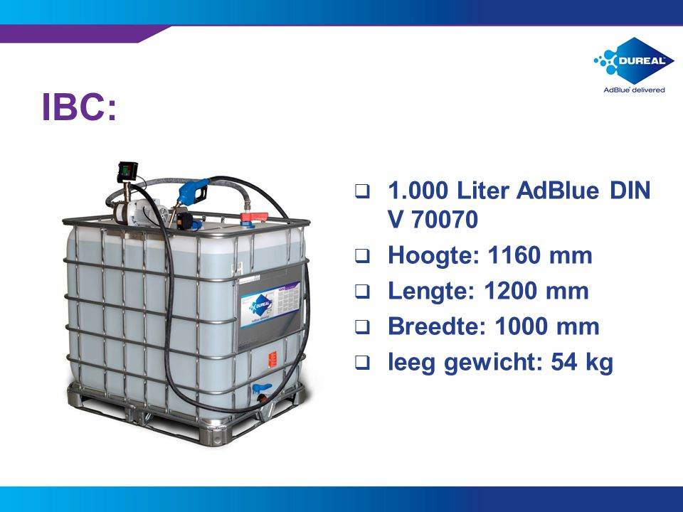 IBC: 1.000 Liter AdBlue DIN V 70070 Hoogte: 1160 mm Lengte: 1200 mm