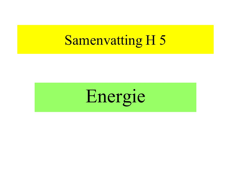 Samenvatting H 5 Energie