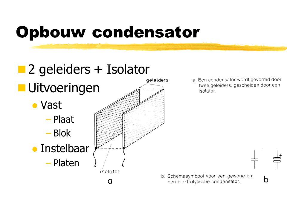 Opbouw condensator 2 geleiders + Isolator Uitvoeringen Vast Instelbaar