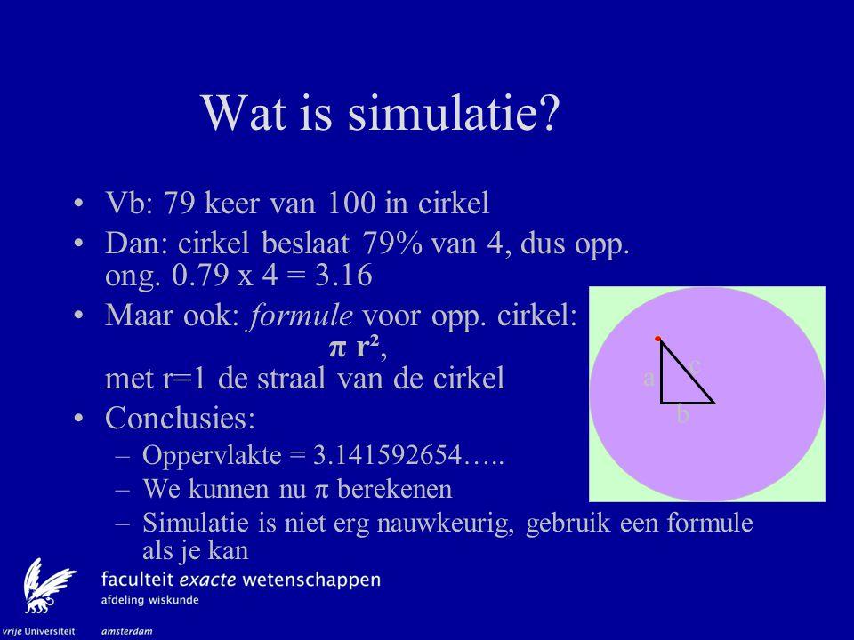 Wat is simulatie Vb: 79 keer van 100 in cirkel