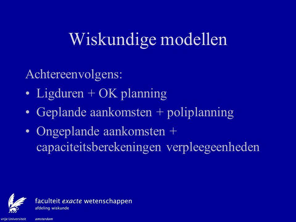 Wiskundige modellen Achtereenvolgens: Ligduren + OK planning