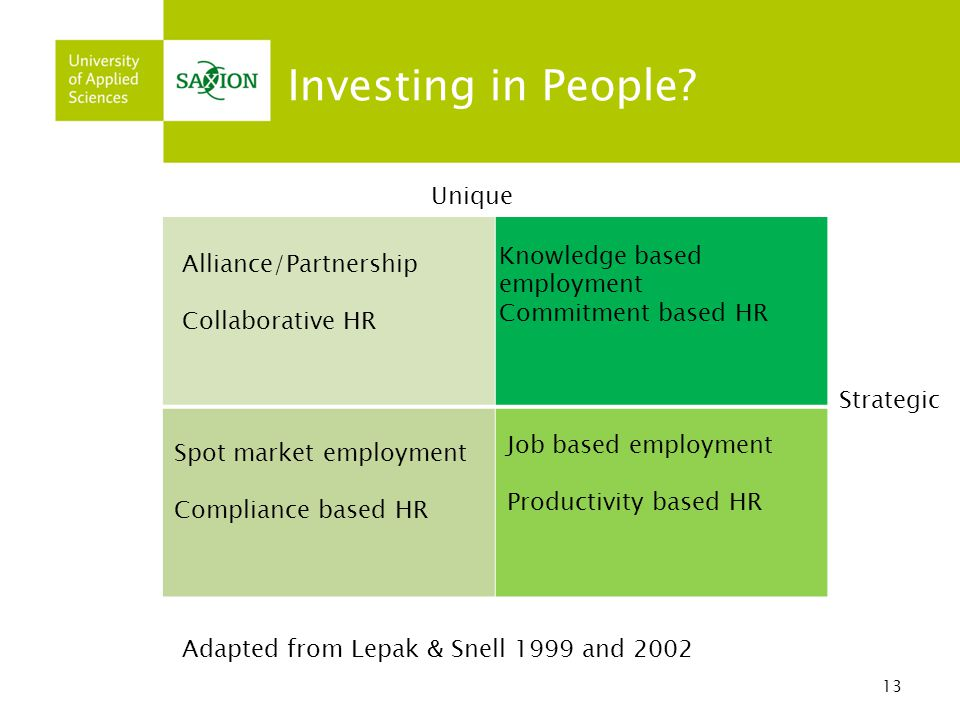 Investing in People Unique Knowledge based employment