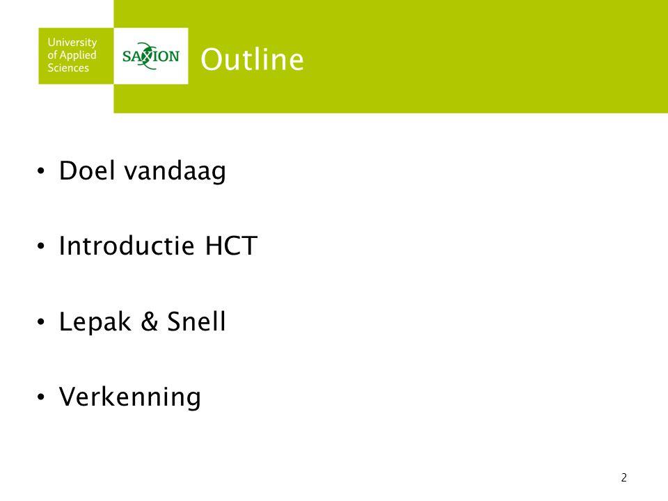Outline Doel vandaag Introductie HCT Lepak & Snell Verkenning 2