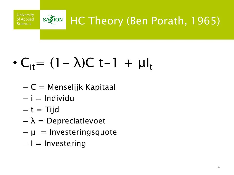 Cit= (1- λ)C t-1 + μIt HC Theory (Ben Porath, 1965)