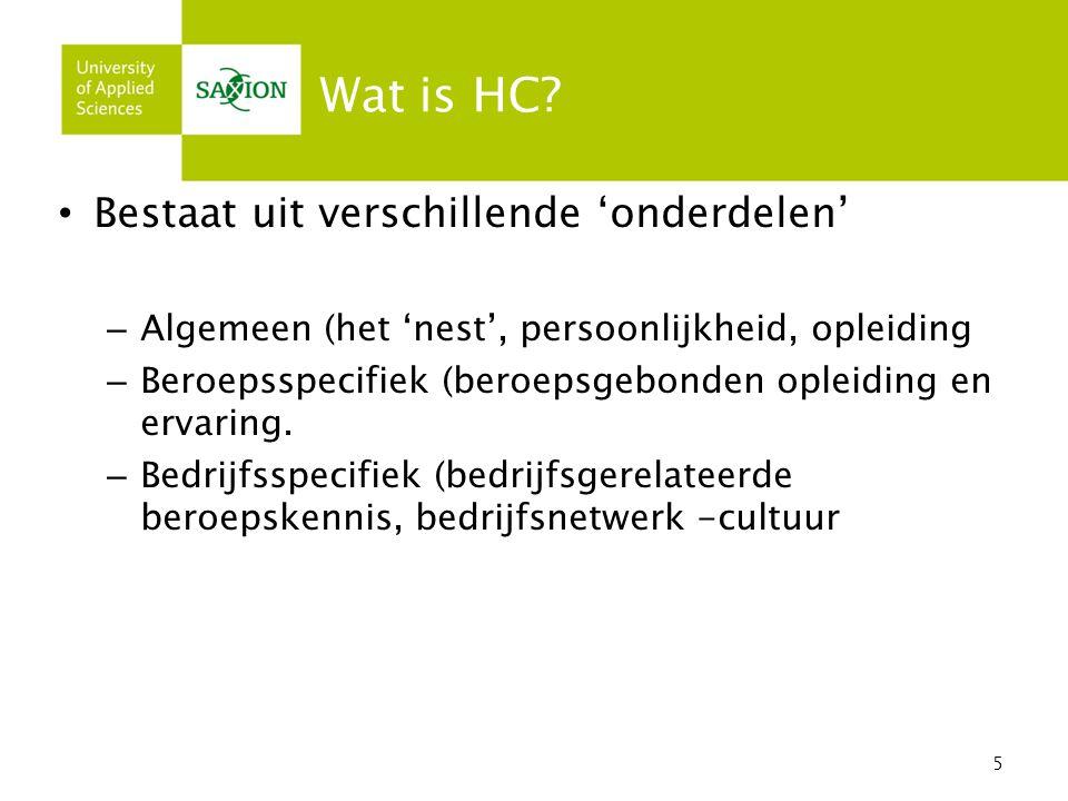 Wat is HC Bestaat uit verschillende 'onderdelen'