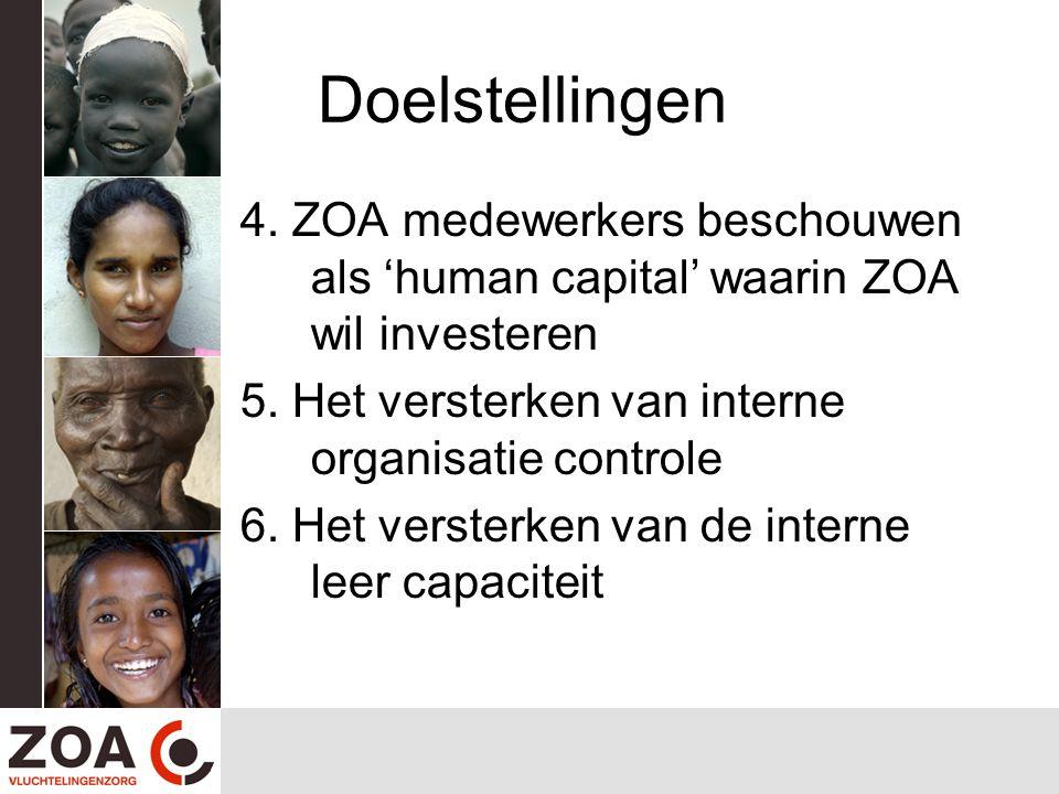 Doelstellingen 4. ZOA medewerkers beschouwen als 'human capital' waarin ZOA wil investeren. 5. Het versterken van interne organisatie controle.