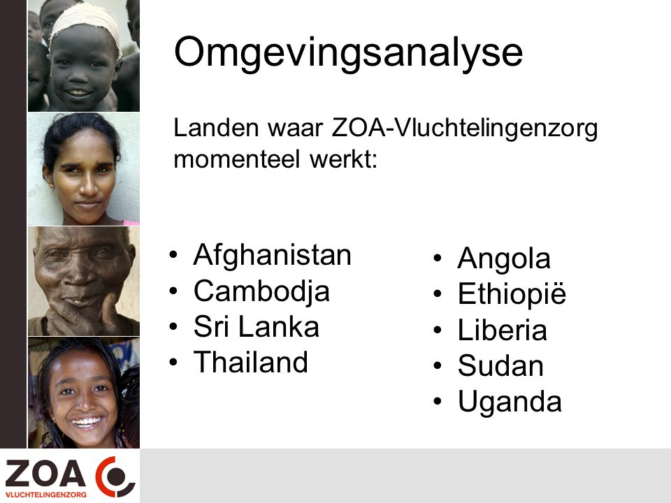 Omgevingsanalyse Landen waar ZOA-Vluchtelingenzorg momenteel werkt: