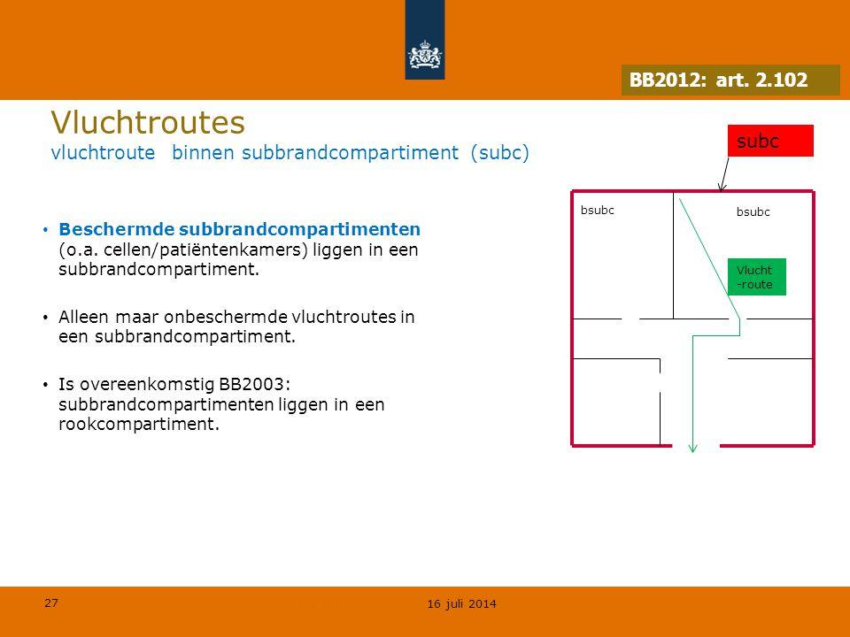 Vluchtroutes vluchtroute binnen subbrandcompartiment (subc)