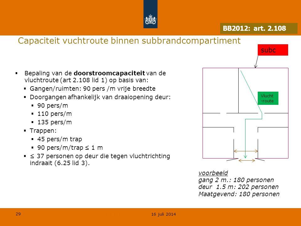 Capaciteit vuchtroute binnen subbrandcompartiment