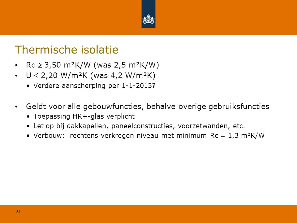 Thermische isolatie Rc  3,50 m²K/W (was 2,5 m²K/W)