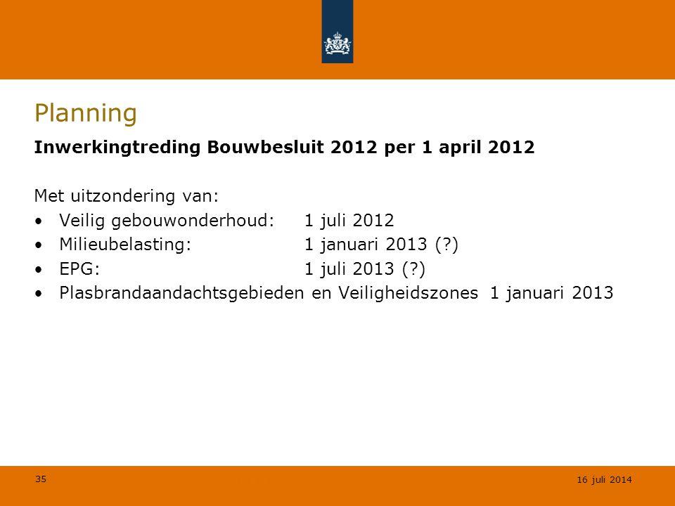 Planning Inwerkingtreding Bouwbesluit 2012 per 1 april 2012