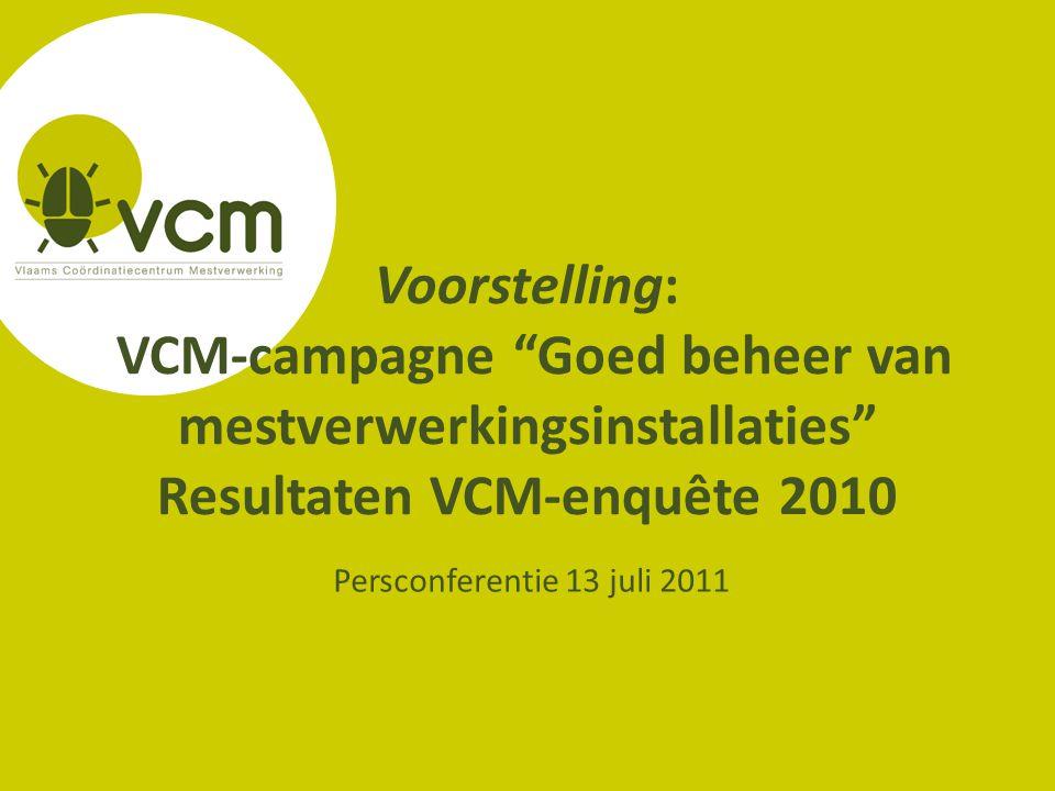 Voorstelling: VCM-campagne Goed beheer van mestverwerkingsinstallaties Resultaten VCM-enquête 2010