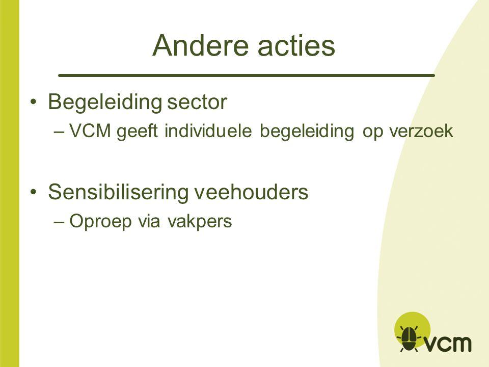 Andere acties Begeleiding sector Sensibilisering veehouders