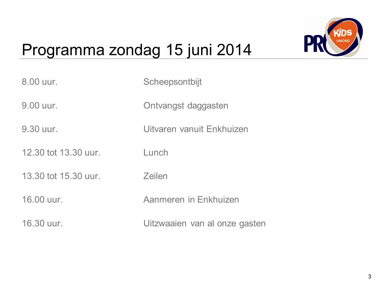 Programma zondag 15 juni 2014 8.00 uur. Scheepsontbijt