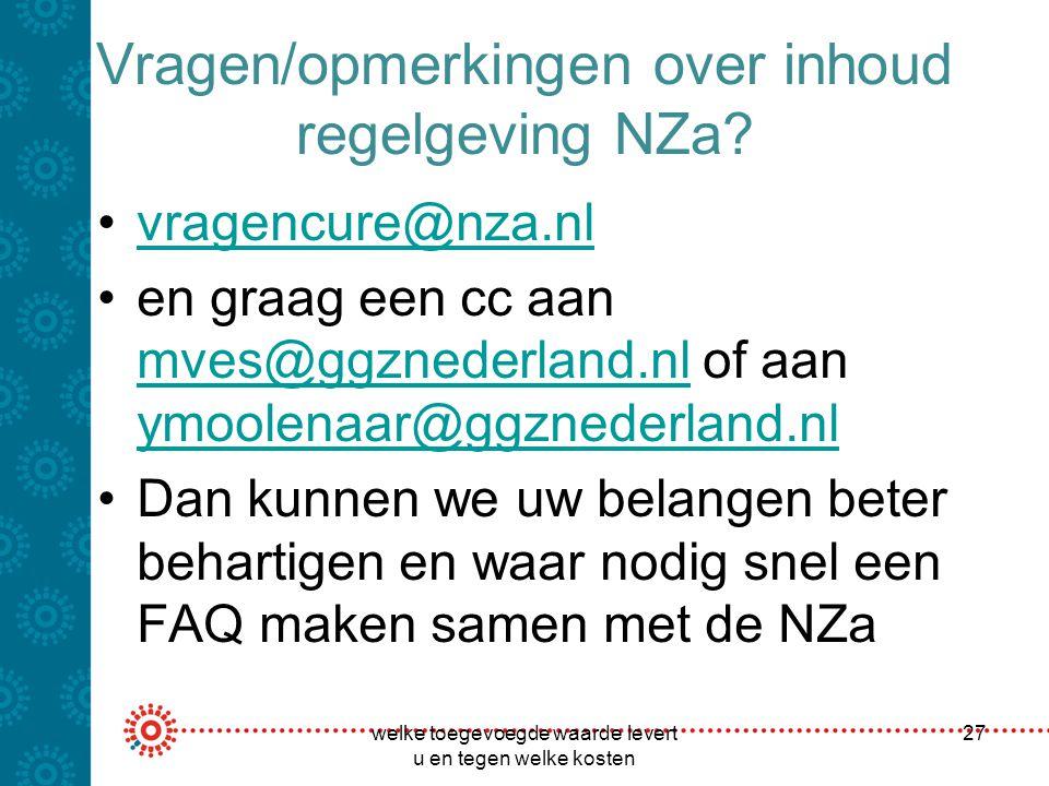 Vragen/opmerkingen over inhoud regelgeving NZa